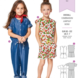 Burda Style Pattern B9343 Child's Drop Waist Jumpsuit