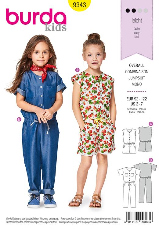 Burda Style Pattern B9343 Child's Drop Waist Jumpsuit