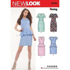 New Look Pattern 6541 Women's Peplum Dress