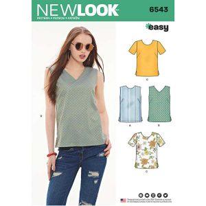 New Look Pattern 6543 Women's Easy Tops