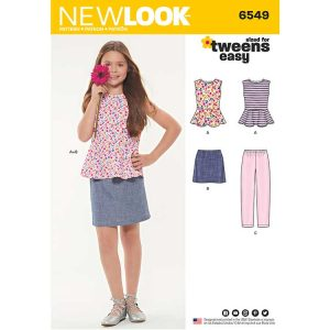 New Look Pattern 6549 Girls' Top, Skirt and Trousers