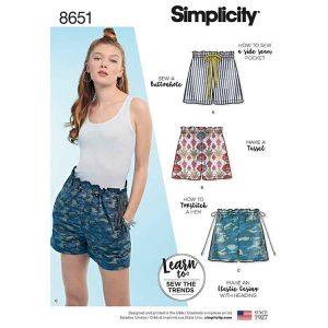 Simplicity 8651 Learn to Sew Pull on Shorts