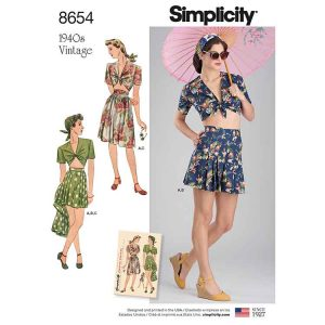 Simplicity 8654 Women's Vintage Skirt, Shorts and Tie Top