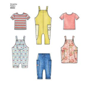 Simplicity 8660 Toddlers' Knit Top, Trousers, Jumper and Overalls