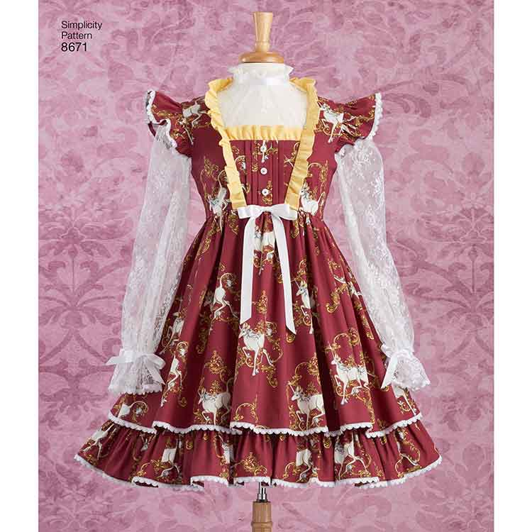 Simplicity 8671 Women\'s Lolita Costume Dresses - Sew Irish