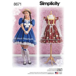 Simplicity 8671 Women's Lolita Costume Dresses