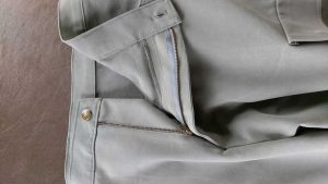 Trouser fly zipper detail