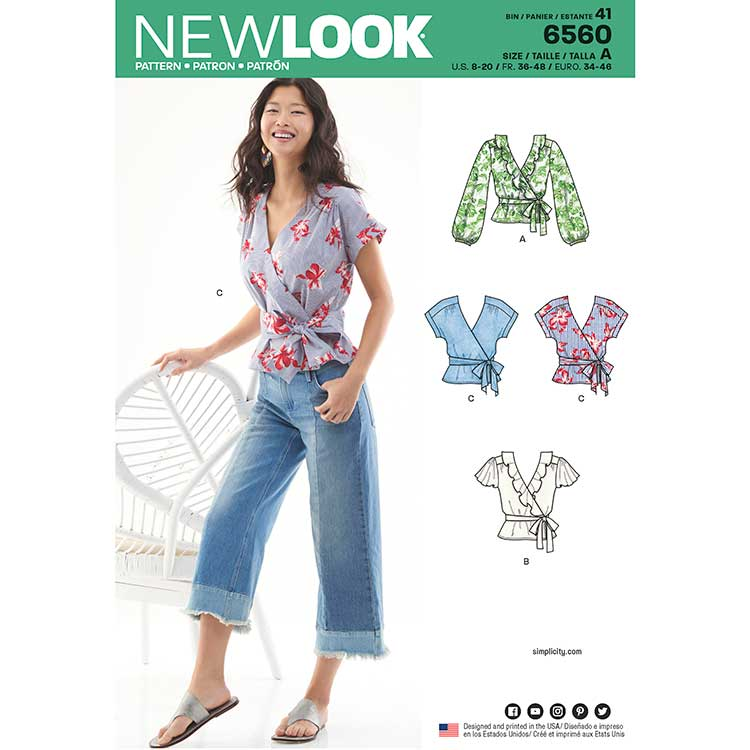 New Look Pattern 6560 Women\'s Wrap Tops - Sew Irish