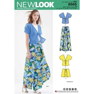 New Look Pattern 6565 Women's Kimono Top and Wrap Pants or Shorts