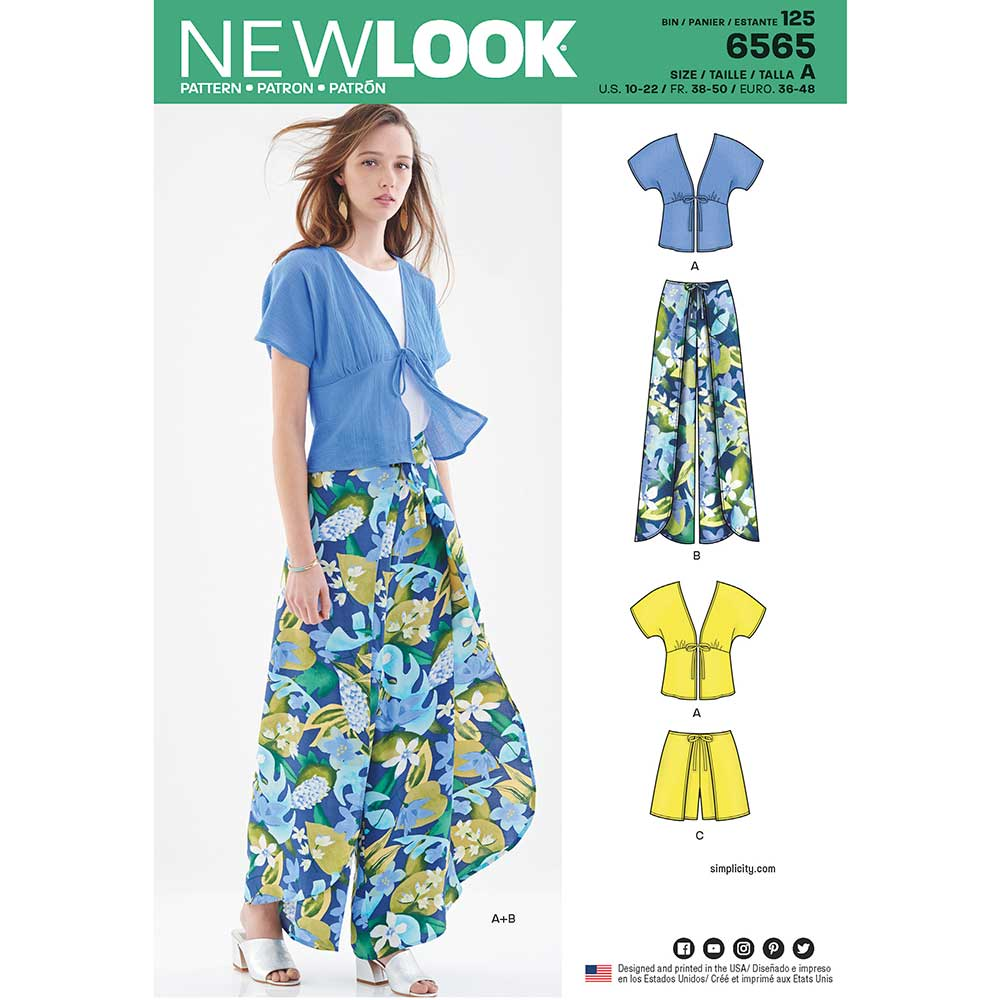 New Look Pattern 6565 Women\'s Kimono Top and Wrap Pants or Shorts ...