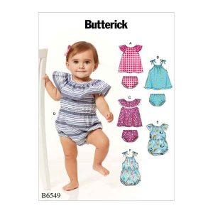 B6549 Infants Romper, Dress and Panties