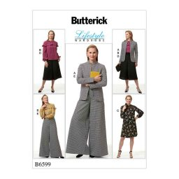 B6599 Misses' Jacket, Top, Dress and Pants