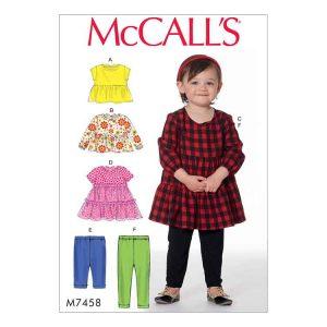 M7458 Toddlers' tops, dresses and leggings