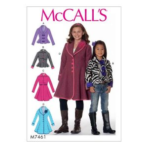 M7461 Children's/Girls' Peter Pan or shawl collar jackets and coats