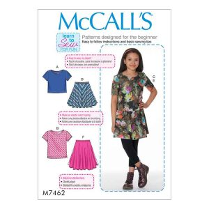 M7462 Girls'/Girls' Plus knit tops and flared skirts