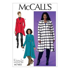M7485 Womens' seamed, shaped hem coats