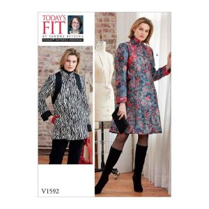 V1592 Misses' Coat Dress and Top