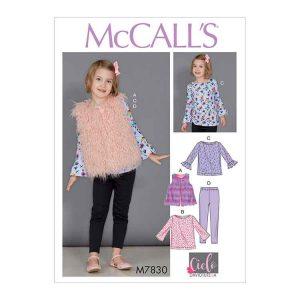 M7830 Children's/Girls' Tunic Tops, Vest and Leggings
