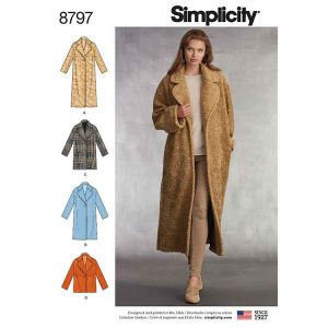 Simplicity 8797 Misses Loose Fitting Lined Coat