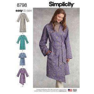 Simplicity 8798 Misses' Unlined Coat with Tie Belt