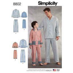 Simplicity 8802 Boys and Men's Set of Lounge Pants and Shirt