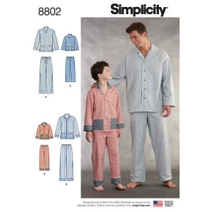 Simplicity 8802 Boys and Men's Set of Lounge Pants and Shirt