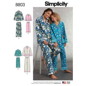 Simplicity 8803 Girls and Misses Set of Lounge Pants and Shirt