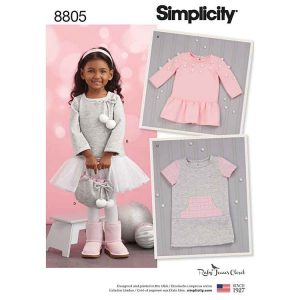 Simplicity 8805 Toddlers' Ruby Jean Dress and Purse
