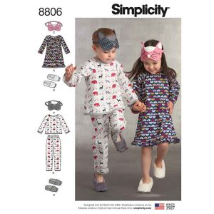Simplicity 8806 Child Dress, Top, Pants, Eye Mask and Slippers