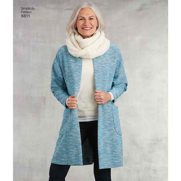 Simplicity 8811 Misses' Knit Sweater, Scarf and Headband