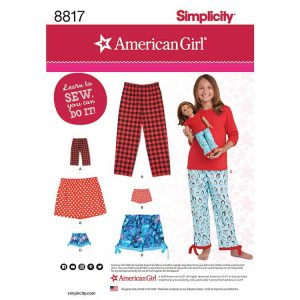 Simplicity 8817 Girl and Doll Lounge Pants and Shorts
