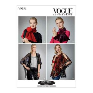 V9354 Misses' Scarves, Shrug and Kimono