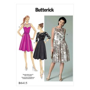 B6415 Misses' Sweetheart-Neckline, Pleated-Skirt Dresses