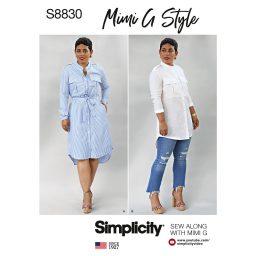 Simplicity 8830 Mimi G Misses'/Miss Petite Shirt Dress