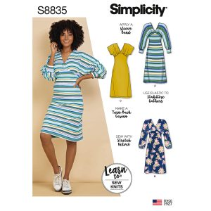 Simplicity 8835 Misses' Learn To Sew Knit Dress