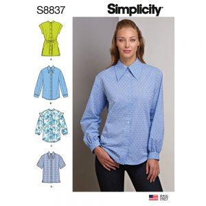 Simplicity 8837 Misses'/ Miss Petite Collared Shirt