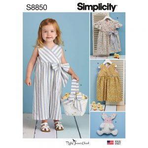 Simplicity 8850 Toddlers' Dress, Jumpsuit, Basket and Toy