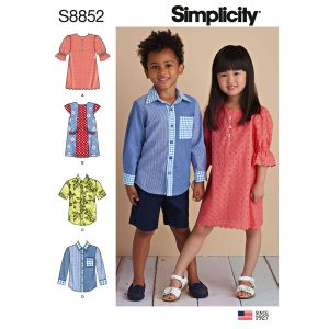 Simplicity 8852 Child's Dresses and Shirt