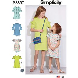 Simplicity 8897  Children's and Girls' Dress and Purse