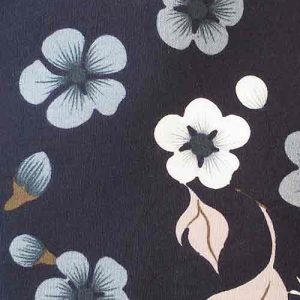 100% Cotton Poplin, floral print (pale blue/white on navy)