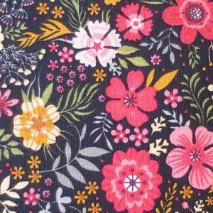 100% Cotton Poplin, floral print (coral/pink/ochre on black)