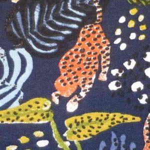 Modal Elastane Printed Jersey: abstract jungle print, navy