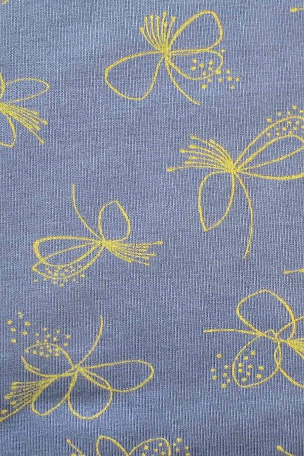 Modal Elastane Printed Jersey: Fuchsia print, blue