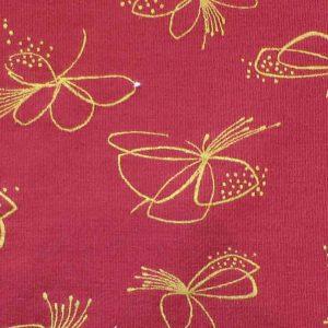 Modal Elastane Printed Jersey: fuchsia print, wine