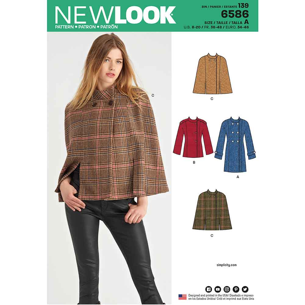 New Look Pattern 6586 Misses' Coat or Cape