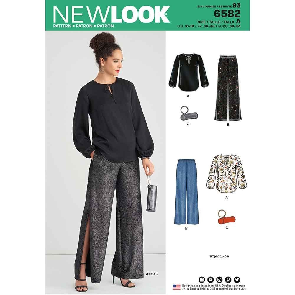 New Look Pattern 6582 Misses' Pant, Top and Clutch