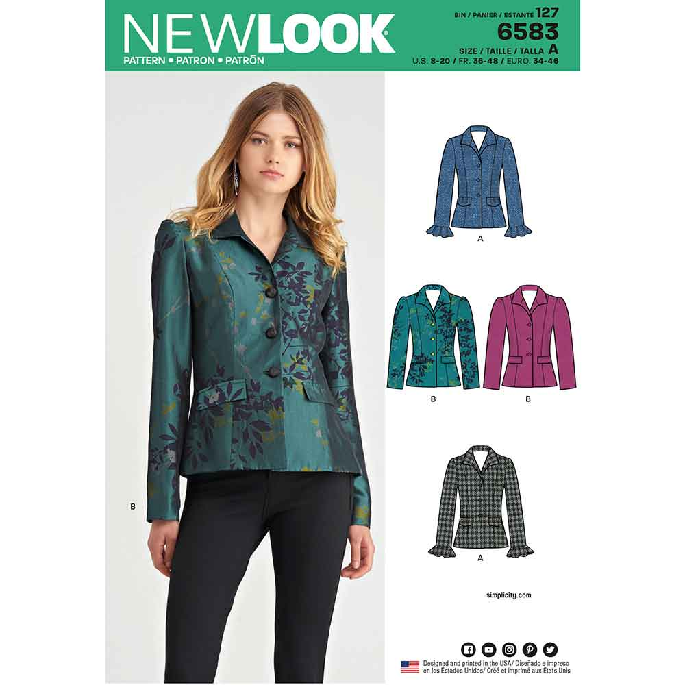 New Look Pattern 6583 Misses' Lined Jacket