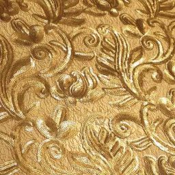 Gold paisley-patterned embroidered tulle with sequins