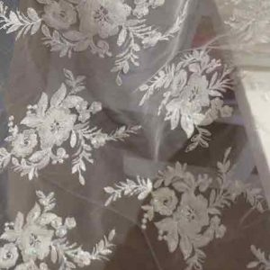 Irridescent embroidered tulle with sequins