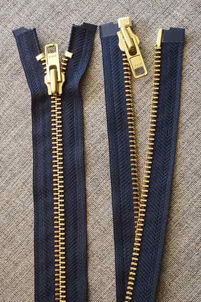 Heavy-duty open-ended brass zip